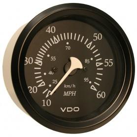 VDO Allentare Black 60MPH 3-3-8- -85mm- Pitot Speedometer - Black Bezel