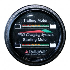 Dual Pro Battery Fuel Gauge - Marine Dual Read Battery Monitor - 12V-24V System - 15 Battery Cable