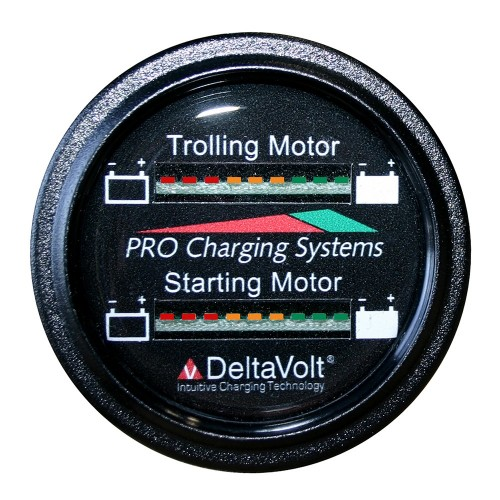 Dual Pro Battery Fuel Gauge - Marine Dual Read Battery Monitor - 12V-36V System - 15 Battery Cable