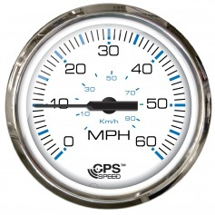 Faria 4- Chesepeake White SS Studded Speedometer - 60MPH -GPS-