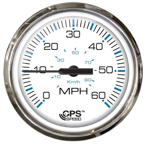 Faria Chesepeake White SS 4- Studded Speedometer - 60MPH -GPS-