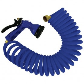 Whitecap 15 Blue Coiled Hose w-Adjustable Nozzle