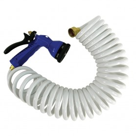 Whitecap 15 White Coiled Hose w-Adjustable Nozzle