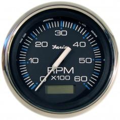 Faria Chesapeake Black SS 4- Tachometer w-Hourmeter - 6-000 RPM -Gas - Inboard-