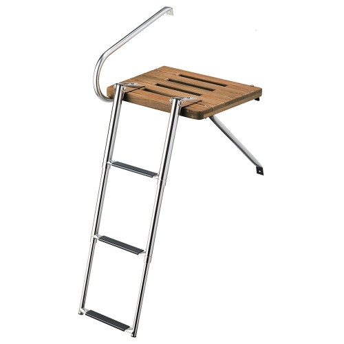 Whitecap Teak Swim Platform w-3-Step Telescoping Ladder f-Boats w-Outboard Motors