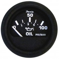 Faria 2- Euro Black Oil Pressure Gauge - 100 PSI