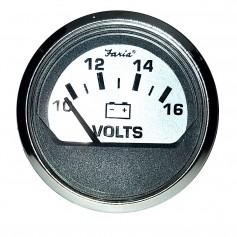 Faria Spun Silver 2- Voltmeter -10-16 VDC-