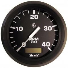 Faria Euro 4- Tachometer w-Hourmeter -4000 RPM- -Diesel- -Mech Takeoff Var Ratio Alt-