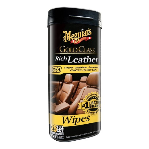 Meguiars Gold Class Rich Leather Cleaner Conditioner Wipes -Case of 6-