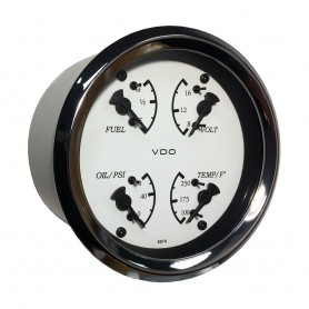 VDO Allentare 4 In 1 Gauge - 85mm - White Dial-Black Pointer - Oil Pressure- Water Temp- Fuel Level- Voltmeter - Chrome Bezel