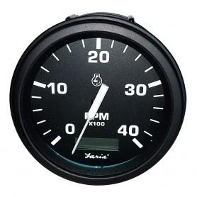Faria Tachometer Heavy-Duty Tachometer w-Hourmeter -4000 RPM- -Diesel- -Mech Takeoff Var Ratio Alt- - Black