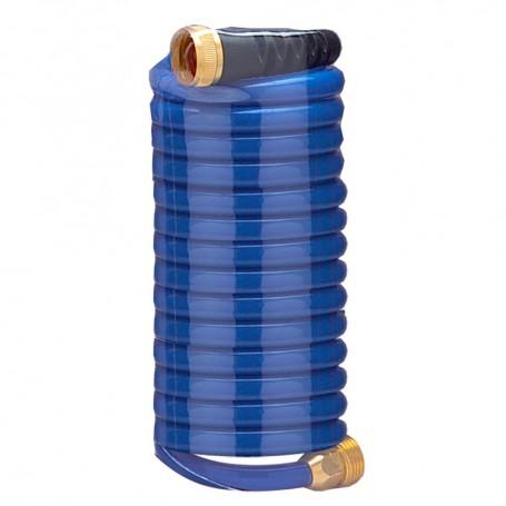 HoseCoil 15- Blue Self Coiling Hose w-Flex Relief