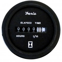 Faria Heavy-Duty 2- Hourmeter -10-000 Hours- -12-32 VDC- - Black