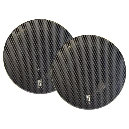Poly-Planar 6- Titanium Series 3-Way Marine Speakers - -Pair- Black