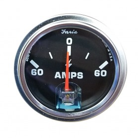 Faria 2- Amp Gauge - Black w-Stainless Steel Bezel