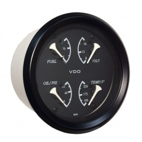 VDO Allentare 4 In 1 Gauge - 85mm - Black Dial-White Pointer - Oil Pressure- Water Temp- Fuel Level- Voltmeter - Black Bezel