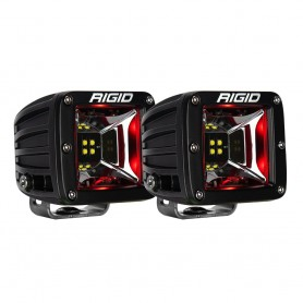 RIGID Industries Radiance Scene Lights - Surface Mount Pair - Black w-Red LED Backlight
