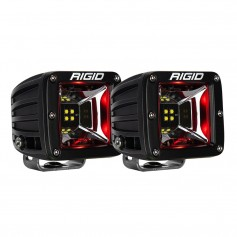 RIGID Industries Radiance Scene Lights - Surface Mount Pair - Black w-Red LED Backlight