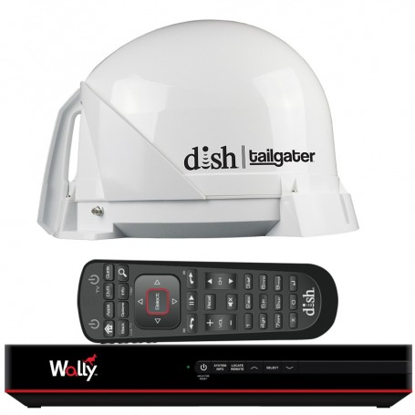 KING DISH Tailgater Satellite TV Antenna Bundle w-DISH Wally HD Receiver Cables