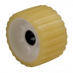 C-E- Smith Ribbed Roller 5- 1-1-8-ID TPR w-Bushing Black Delrin Gold