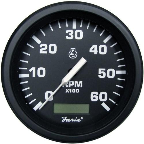 Faria 4- HD Tachometer w-Hourmeter -6000 RPM- - Gas - Black