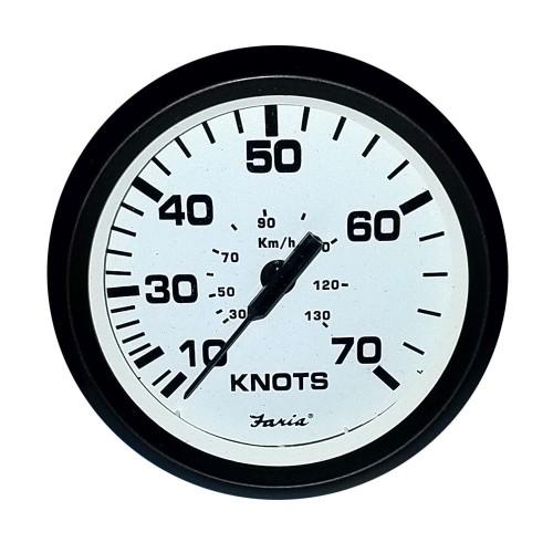 Faria 4- Speedometer -70 Knot- Mechanical Euro White