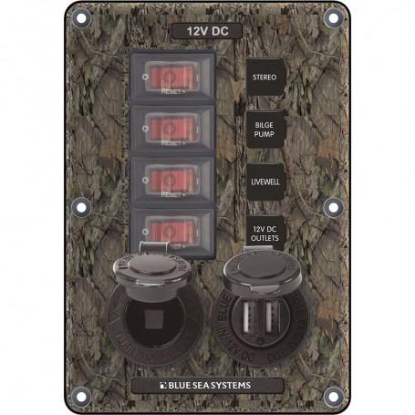 Blue Sea 4324 Circuit Breaker Switch Panel 4 Postion - Camo w-12V Socket Dual USB