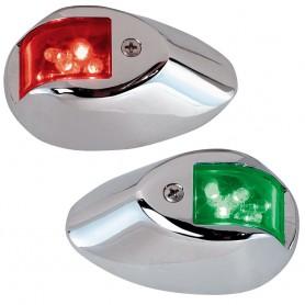 Perko LED Sidelights - Red-Green - 12V - Chrome Plated Housing