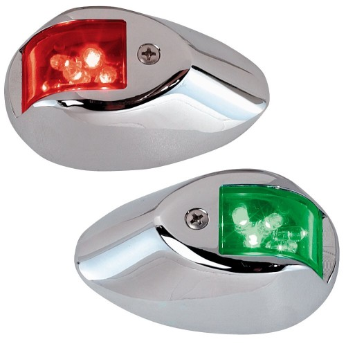Perko LED Sidelights - Red-Green - 12V - Chrome Plated Housing