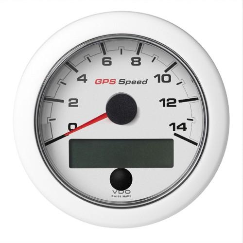 VDO 3-3-8- -85mm- OceanLink GPS Speedometer 0-14 - White Dial Bezel
