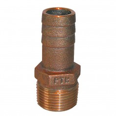 GROCO 1-2- NPT x 1-2- or 5-8- ID Bronze Pipe to Hose Straight Fitting