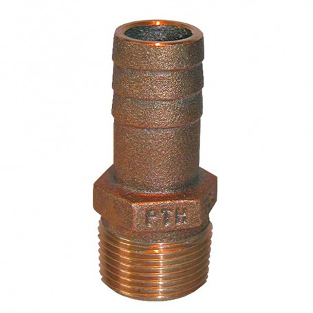 GROCO 1-1-4- NPT x 1-1-4- ID Bronze Pipe to Hose Straight Fitting