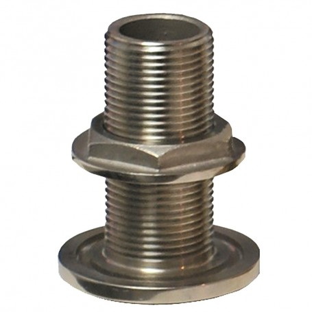 GROCO 2- NPS NPT Combo Stainless Steel Thru-Hull Fitting w-Nut