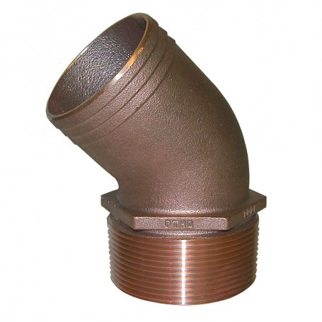 GROCO 1-1-2- NPT Bronze 45 Degree Pipe to 1-1-2- Hose
