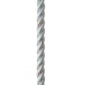 New England Ropes 3-8- X 25 Premium Nylon 3 Strand Dock Line - White w-Tracer