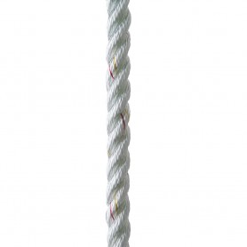 New England Ropes 1-2- X 25 Premium Nylon 3 Strand Dock Line - White w-Tracer