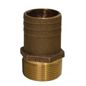 GROCO 1-1-4- NPT x 1-1-2- Bronze Full Flow Pipe to Hose Straight Fitting