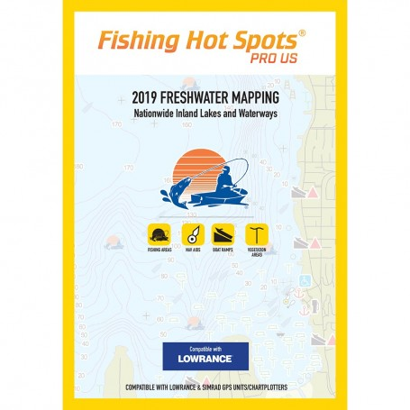 Fishing Hot Spots PRO USA 2019 Freshwater Mapping Nationwide Inland Lakes Waterways f-Lowrance Simrad Units