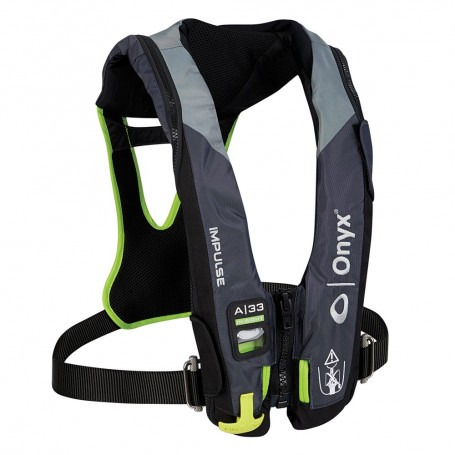 Onyx Impulse A-33 In-Sight w-Harness Automatic Inflatable Life Jacket -PFD- - Grey-Neon Green