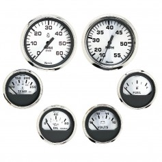 Faria Spun Silver Box Set of 6 Gauges f- Inboard Engines - Speed- Tach- Voltmeter- Fuel Level- Water Temperature Oil