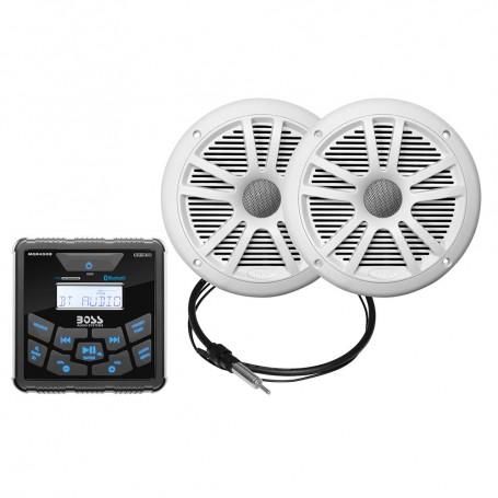 Boss Audio MCKGB450W-6 Marine Package - BluetoothIn-Dash Marine Gauge Digital Media AM-FM Receiver w-6-5- Speakers - White