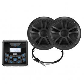 Boss Audio MCKGB450B-6 Marine Package - In-Dash Marine Gauge Digital Media AM-FM-BT Receiver w-6-5- Speakers - Black