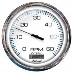 Faria 5- Tachometer W-Digital Hourmeter -6000 RPM- GAS -INBOARD- CHESAPEAKE WHITE W-STAINLESS STEEL BEZEL - Bulk PACKAGE