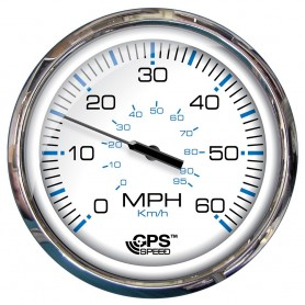 Faria 5- Speedometer -60 MPH- GPS -Studded- Chesapeake White w-Stainless Steel