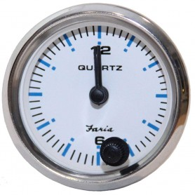 Faria 2- Clock Chesapeake White w-Stainless Steel Bezel - Quartz Analog