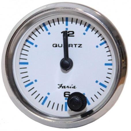Faria 2- Clock Chesapeake White w-Stainless Steel Bezel - Quartz Analog