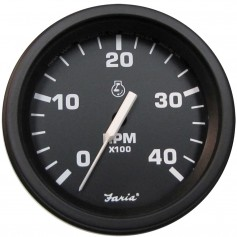Faria 4- Heavy-Duty Tachometer -4000 RPM- -Diesel- Mag Pick-Up - Black w-Black Bezel