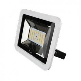 Lunasea 35W Slimline LED Floodlight- 12-24V- Cool White- 4800 Lumens- 3 Cord - White Housing