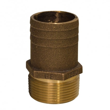 GROCO 1-2- NPT x 3-4- Bronze Full Flow Pipe to Hose Straight Fitting