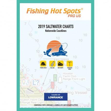 Fishing Hot Spots Pro SW 2019 Saltwater Charts Nationwide Coastlines f-Lowrance Simrad Units